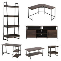 Home Office Furniture Living Room TV Stand Coffee Table Wood Furniture Smoky Oak