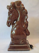 STALLION TV LAMP! Vintage USA ART pottery:gloss BROWN glaze: EXCELLENT!