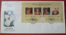 First day of issue, 1997 Tuvalu  Honoring Diana, Princess of Wales multi-franked