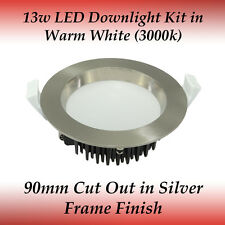 13w Dimmable LED Recessed Downlight Kit in Warm White Light with Silver Frame