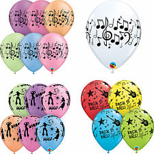 Music Themed: Music Notes, Disco, Rock & Roll Printed Qualatex Latex Balloons