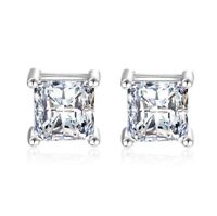 925 Sterling Silver Square Gems Stone Claw Stud Earrings Womens Girls Jewellery