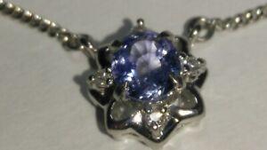 "Solid platinum natural sapphire diamond pendant 1.2mm chain 4.69 grams - 16"""