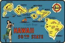 Vintage Travel Decal Replica Window Cling - Hawaii