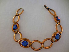 Vintage Signed Simmons Bracelet Gold Bright Blue Stones 6 1/2 inch