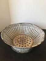 "Vintage Gray Speckled Granite Enamel Ware Footed Kitchen Strainer 10"" Diameter"