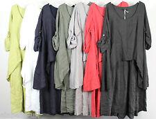 New Ladies Plus Size Italian Lagenlook Quirky Linen Layered Asymmetrical Dress