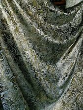 "3M Black  gold COLOUR PAISLEY METALLIC BROCADE /JACQUARD FABRIC 58"" WIDE"