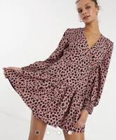 Influence Wrap Dress Size 8 Abstract Spot Print Black Pink GU75 Long Sleeve New