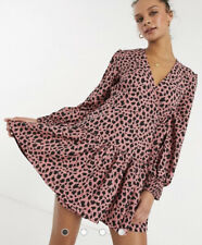Influence Wrap Dress Size 8 Long Sleeve Abstract Spot Print Black Pink New GD36