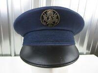 VTG 1970s USAF Air Force Blue Tropical Service Cap Bancroft Wool Blend size 7