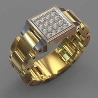14k Yellow Gold White Sapphire Mens Ring Wedding Two Tone Jewelry Rings Sz 6-10