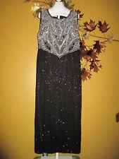 STENAY Silver & Black Silk Beaded Evening Trophy Maxi Dress  2X / 1X / 16 / 18