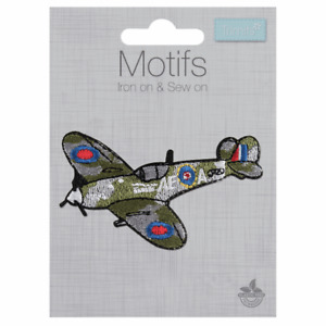 Spitfire Fighter Plane Iron On or Sew On Motif Patch Child Adult Embellishment