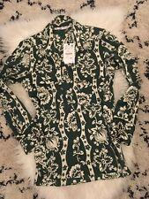 ZARA Green Floral Print Silky Feel Shirt Blouse SMALL BNWT Rhinestone Buttons
