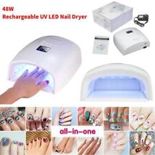 White 48W Cordless Wireless Rechargeable Led/Uv Nail Lamp Gel Polish Light Dryer