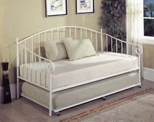Kings Brand White Metal Twin Size Day Bed (Daybed) Frame With Metal Slats