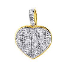 "Diamond Heart Pendant 14K Yellow Gold 3/4"" Charm Necklace 0.37 CT."