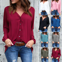 White T-shirt for Women V-neck Blouse Pleated Button Long-sleeve Loose Chiffon