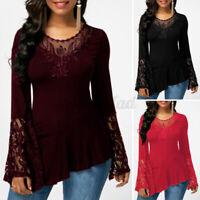 ZANZEA Womens Summer Lace Long Sleeve T Shirt Blouse Casual Loose Tops Plus Size