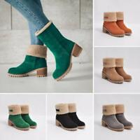 Women Round Toe Faux Suede Warm Fur Lining Pull On Ankle Boot Causal Shoes @BT01