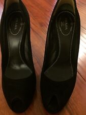 PRADA Suede Peep Toe Heels Platform High Heel 37 Us 7 Medium B Black Pumps