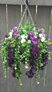 New White/purpleTrailing Artifical Flower Hanging Basket Ready To Hang Garden