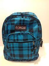JanSport Trans TM60 Supermax Backpack Black And Blue Plaid Padded Straps