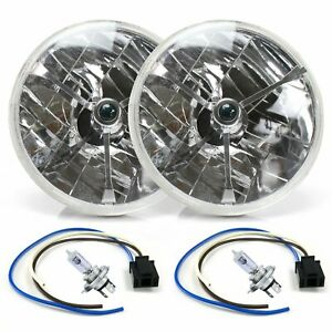"""Tri-Bar 7"""" Inch Halogen Lens Assembly with H4 bulb and Plug Pair streets rods"""