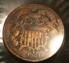 """1865 Two Cent Coin """" Rare Civil War Coin"""" Toning"""