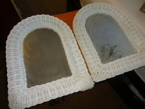 Pair White Wicker Wall Mirrors - Arch Shaped