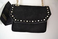 ZARA BLACK SPLIT SUEDE STUDDED CITY MESSENGER BAG WITH GOLD CHAIN REF.8427/004