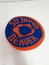 Vintage Denver Broncos Knit Hat Orange Crush BLUE wimter pom elway newsboy