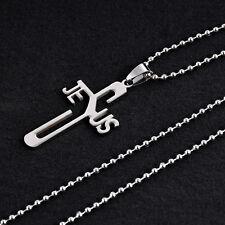 HOT Jeus Womens Men's Silver 316L Stainless Steel Titanium Pendant Necklace