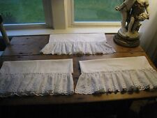 WHITE WIDE EYELET RUFFLED LACE 3~PANEL CURTAINS  #52