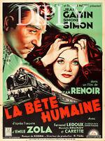 PLAQUE ALU DECO REPRODUCTION AFFICHE CINEMA LA BETE HUMAINE RENOIR GABIN SIMON