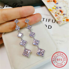 925 Sterling Silver Tassels Dangle Earrings Princess Cut White Sapphire Jewelry
