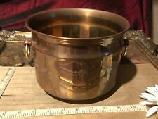 "Vintage Solid Brass Round Planter/Bowl with Handles 8""x5"""