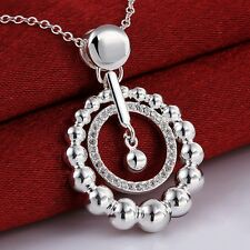 Wholesale 925 Sterling Silver Filled Circle Bead Necklace With Clear Zircon