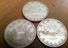 Lot of 3 Canada Silver Dollars, 1962, 2x 1965