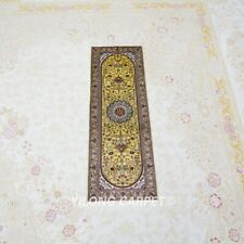 YILONG 1x3' Gold Handmade Silk Carpet Kitchen Rug Runner Hallway Carpet L034H