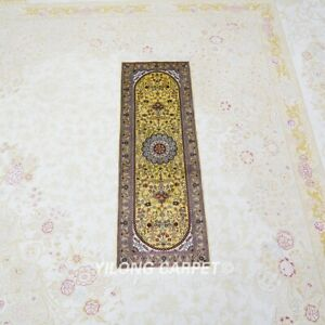 YILONG 1x3' Gold Handmade Silk Carpet Lobby Rug Runner Hallway Carpet L034H