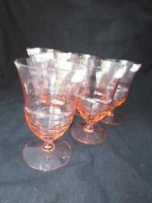 """6 Vintage Pink Diamond Optic Rippled Footed Tumblers by Louie Weston Glass 5"""""""