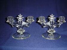 US GLASS CANDLESTICKS CLEAR CANDLEHOLDERS CRYSTAL PAIR
