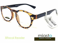 ~LOT OF 2~ MIASTO UNISEX BIFOCAL RETRO ROUND READER READING GLASSES GLASSES+2.25