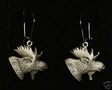 Pewter Moose Head Dangle Earrings by Empire Pewter