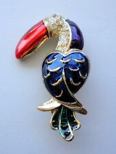 Brooch Bird Gold Plated Toucan Pin Multi-Color Enamel Crystal Free Shipping Gift