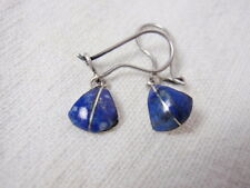 Lapis Lazuli Earrings Pierced Wires Silver Plate Setting Polished Stone Vintage