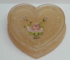 Boyd Glass Heart Trinket Box Handpainted Scottie Rosie Pink