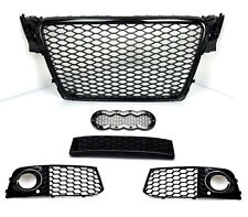 Pour Audi a4 b8 2007-12 rayons Grill Calandre Noir Brillance Mesh Grill rs4 # +